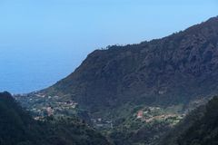 View at mountain peak on coast of Faial county, Madeira. View at mountain peak on coast of Faial county on Portuguese island of Madeira stock photography