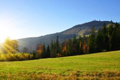 View of the mountain peak Grosser Arber, Germany, Europe. Autumn landscape in Bavarian Forest National Park. View of the mountain peak Grosser Arber, Germany Royalty Free Stock Photography
