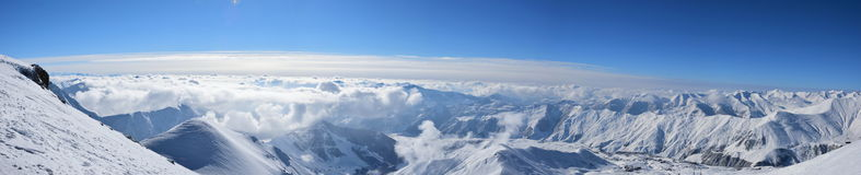 View from mountain peak. Winter Stock Photography