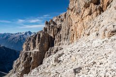 View of the mountain peaks Brenta Dolomites. royalty free stock photography