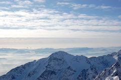 View mountain peaks of High Tatras from Lomnicky Peak. Royalty Free Stock Images