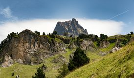 View of mountain the Pic du Midi d`Ossau in the French Pyrenees Stock Photo