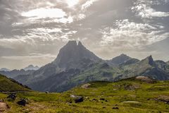 View of the Pic du Midi d`Ossau in the French Pyrenees royalty free stock photo