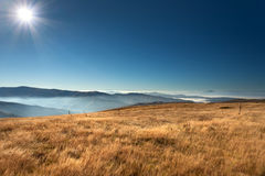 View from the mountain plateau above the clouds Stock Photography