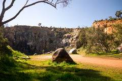 A view of a mountain quarry site in Greenmount National Park. Western Australia stock image