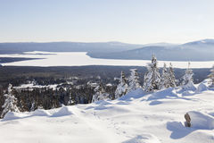 View from mountain range Zyuratkul, winter landscape Stock Photo