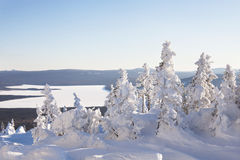 View from mountain range Zyuratkul, winter landscape Royalty Free Stock Photo
