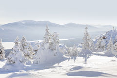 View from mountain range Zyuratkul, winter landscape Royalty Free Stock Image
