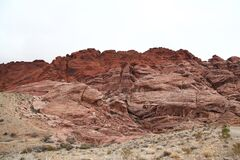View of mountain red rock canyon national park in Foggy day at nevada,USA