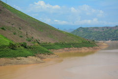 View of mountain with river and cloudy sky in Moc Chau Stock Photography