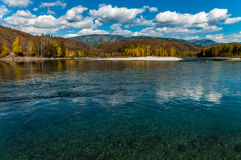View of the mountain and river in the fall Stock Photos