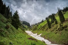 Snow from the avalanches in the gorge. View of a mountain river in the gorge with snow from the avalanches stock photo