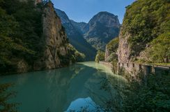View of mountain river in Italy Stock Images