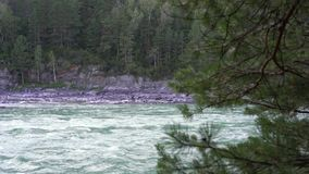 View of the mountain river and mountains. A strong stream of a turquoise mountain river stock footage