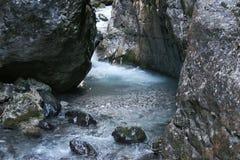 Mountain river stream. Serrai di sottoguda canyon, Veneto, Italy. Royalty Free Stock Photos