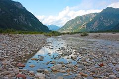 View of mountain river in summer Royalty Free Stock Photography