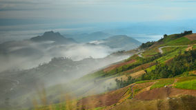 View of mountain road and fog Stock Image