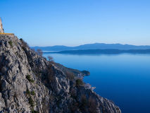 View from the mountain road to blue Adriatic sea Stock Photography