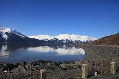 mountain, sea, land stock image