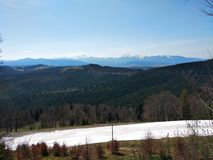 View from the mountain for skiing in Bukoveli royalty free stock photos