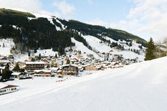 View of in mountain skiing resort town Les Gets Stock Image