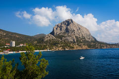 View of the mountain Sokol and bay.Crimea. Mountain over the bay.township Novey Svet.Crimea. Black Sea.September 2014 Royalty Free Stock Image