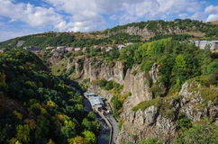 View of mountain and spa  city Jermuk and canyon of Arpa river. Royalty Free Stock Photo