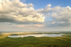 View from Mountain Sugomak, Southern Urals, soft filter Royalty Free Stock Photo