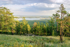 View from Mountain Sugomak, Southern Urals, soft filter Stock Photo