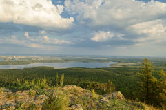 View from Mountain Sugomak, Southern Urals, soft filter Royalty Free Stock Photos
