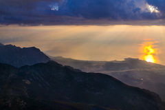 View from the mountain at sunrise Stock Image