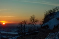 View from Mountain, sunset, royalty free stock image