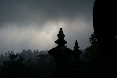 View from mountain overlooking temple and forest. Taken in Bali, Indonesia. View was from Temple in mountain at sunset Stock Photography
