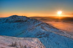 View from the mountain to the evening panorama of the city of Karabash stock photos