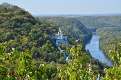 View from the mountain to the monastery. Of stone and a wide river at the foot of the mountain Stock Photos