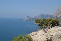 The view from the mountain to the sea. The village of Sudak in the Crimea Stock Images