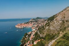 View from the mountain to the town of dubrovnik in croatia royalty free stock images