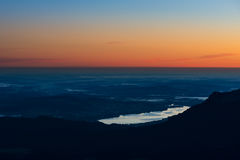 View from mountain to valley lake Royalty Free Stock Photography