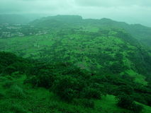 View From Mountain Top. A Green Landscape Royalty Free Stock Photo