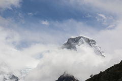 View of the mountain top covered by the snow. Hike to Laguna 69 in the Cordillera Blanca in Huaraz, Peru. Royalty Free Stock Images