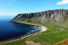 Panoramic view on the lofoten islands royalty free stock image