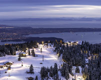 View from mountain top overlooking city lights Royalty Free Stock Photography
