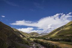 The view of the mountain top in tibetan Royalty Free Stock Photo