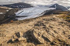 View from the mountain top to the snow-capped peaks Royalty Free Stock Photo