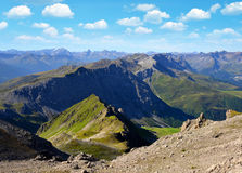 View from the mountain top Weissfluhjoch, Swiss alps. Royalty Free Stock Photos