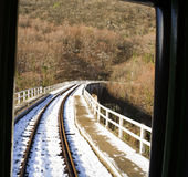 View from mountain train crossing a bridge Stock Photography