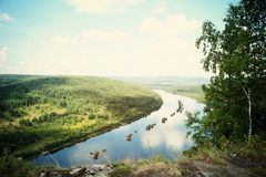 View from the mountain. In the Urals, Perm region Royalty Free Stock Image