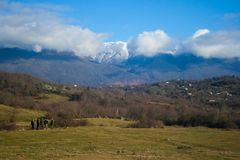 View of mountain valley in Abkhazia Royalty Free Stock Image