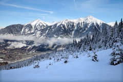 View on mountain valley in Alps Stock Image