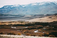 View of the mountain valley. The hills under a colorful sky royalty free stock photos